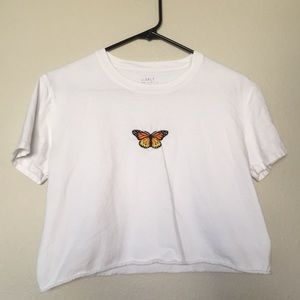 Brandy Melville Cropped Butterfly Top